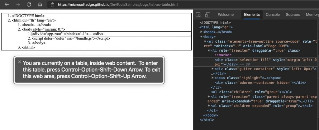 Bare bones example of the HTML of Developer Tools with Voiceover announcing it wrong
