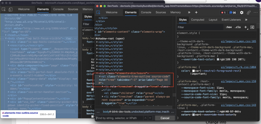 Developer tools open on Developer Tools showing the right markup for an accessible tree
