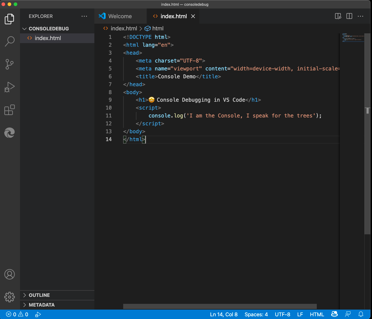 HTML Example for console debugging