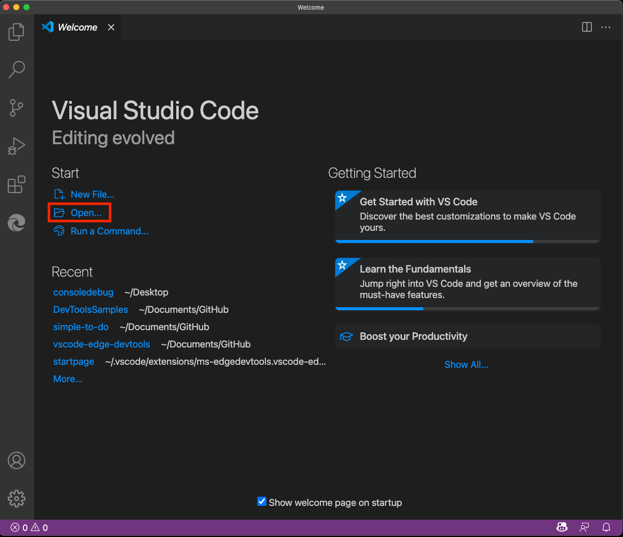 """New instance of Visual Studio Code with """"Open Folder"""" selected"""