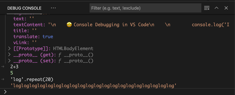 Running JavaScript in the Debug Console