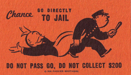 Monopoly card redirection to jail