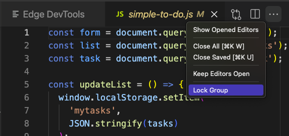 Locking the pane with the DevTools Extension