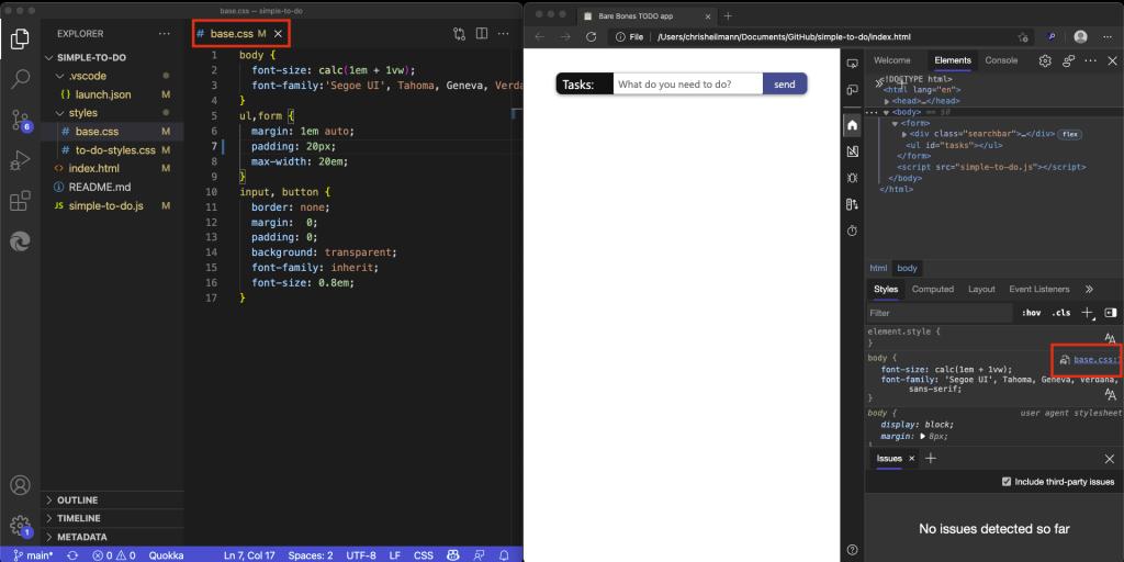 CSS file openet in VS code
